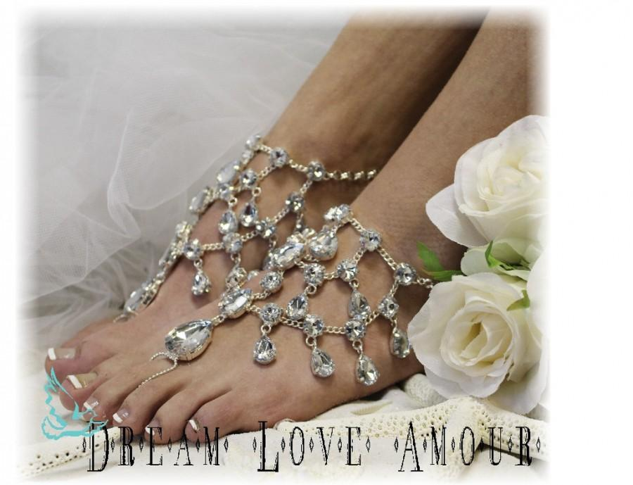 Wedding - Barefoot sandals, Crystal Dreams, footless, foot jewelry, wedding, beach, silver