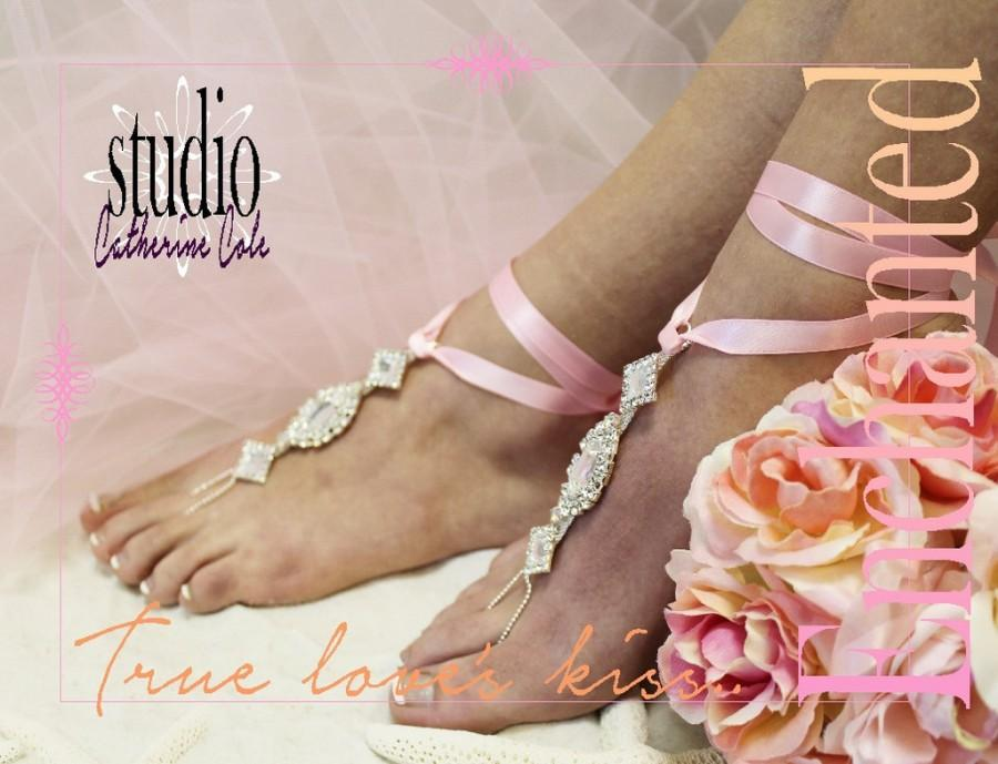 Wedding - Barefoot Sandals, foot jewelry, wedding, beach, Enchanted, silver pink, rhinestones, ribbon