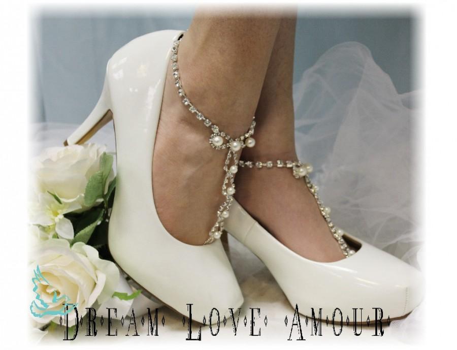 Wedding - Barefoot Sandals, Parisian, footless, wedding, beach, beaded, pearl, rhinestone, silver