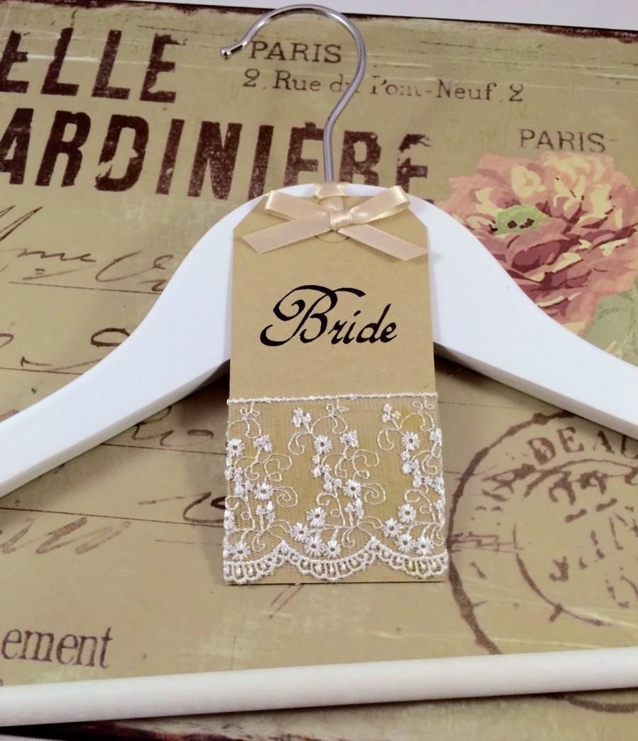 Свадьба - Bespoke White Wooden Bridal Hanger