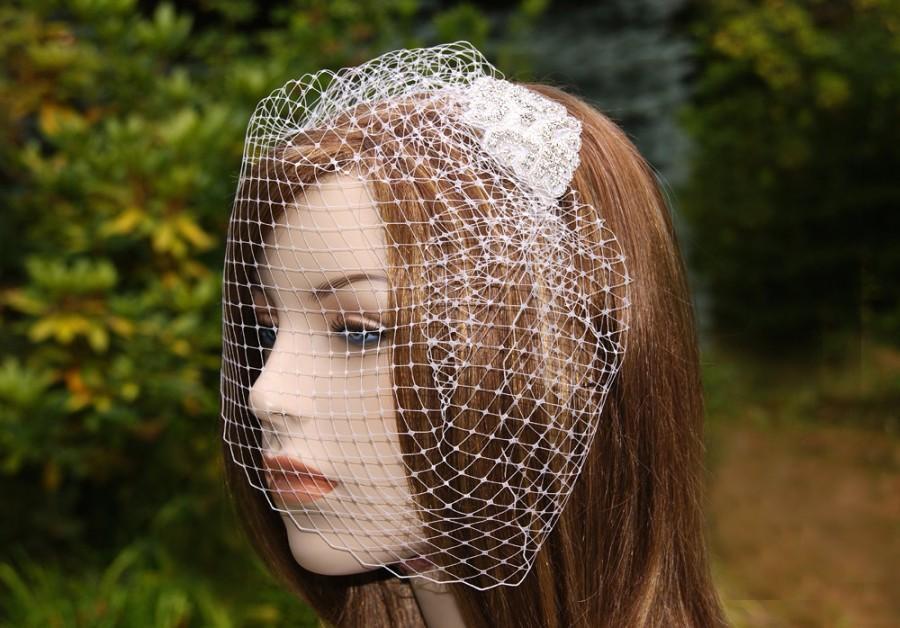 Mariage - Bridal Birdcage Veil & Rhinestone Fascinator, Diamante Wedding Blusher, French Netting Bird Cage White, Ivory, Ecru, Blush, Champagne, Black