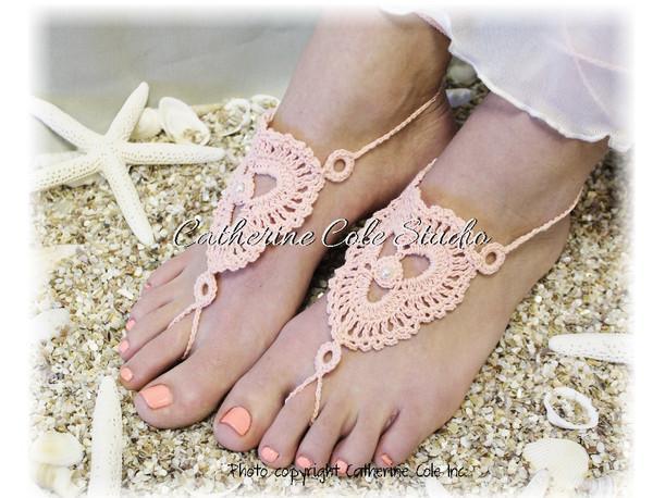 Boda - Barefoot sandals, Peach, jewelry, footless, wedding, beach, boho, crochet, hippie