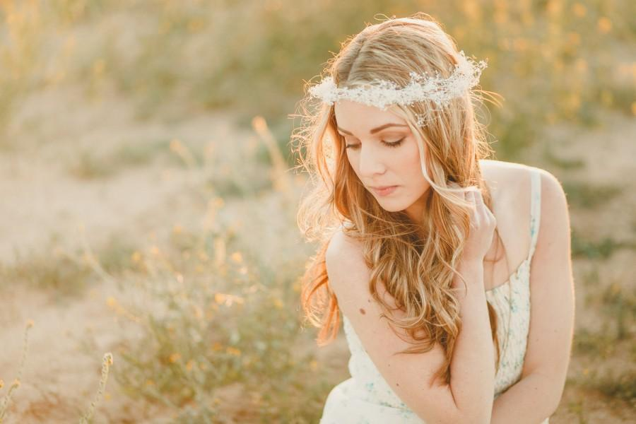 Свадьба - The Juliet Flower Crown created with dried babys breath