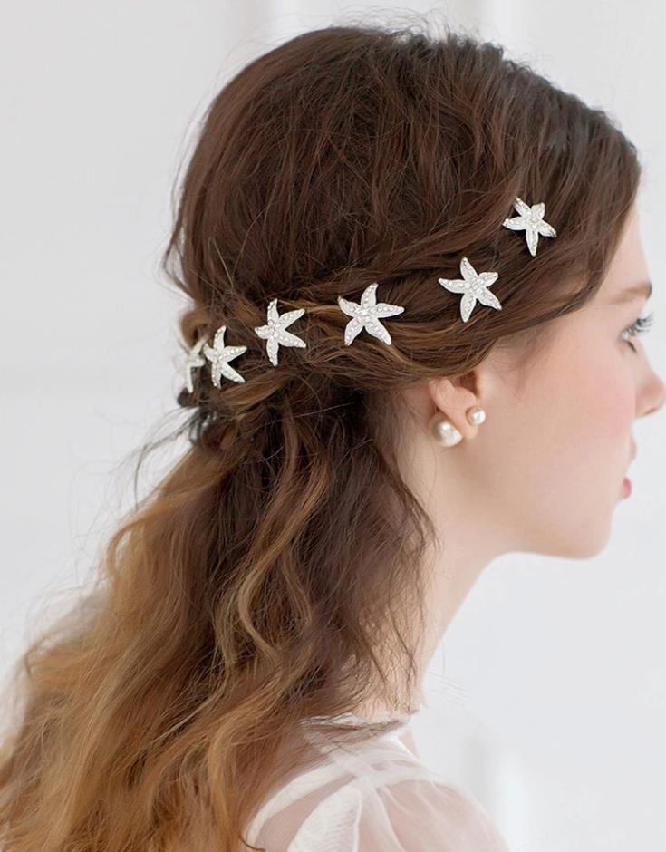 Wedding - Starfish rhinestone wedding hair pins