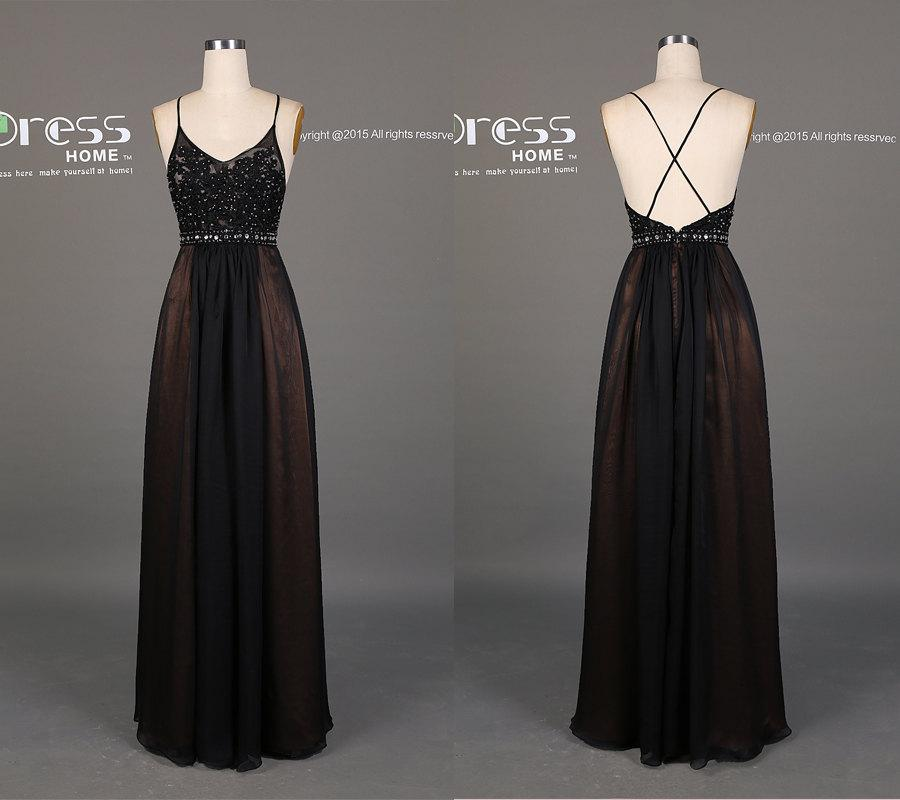 Long Black Prom Dress with Straps