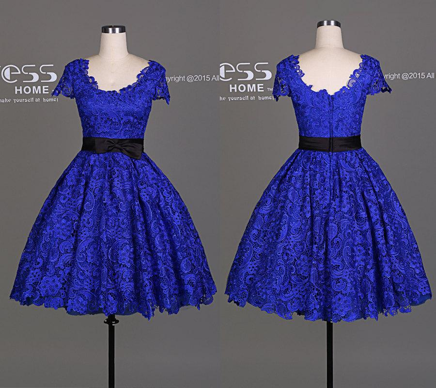 New arrival royal blue cap sleeve lace a line short for Royal blue short wedding dresses