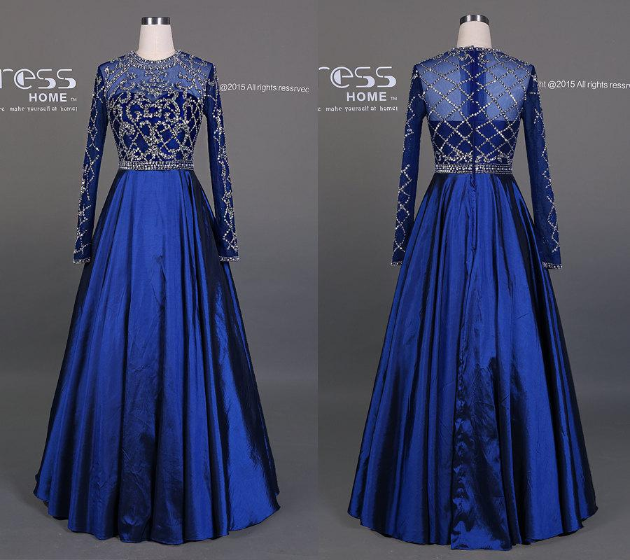 2016 Royal Blue Beading Long Sleeves Prom Dress/Long Prom Dress/See ...