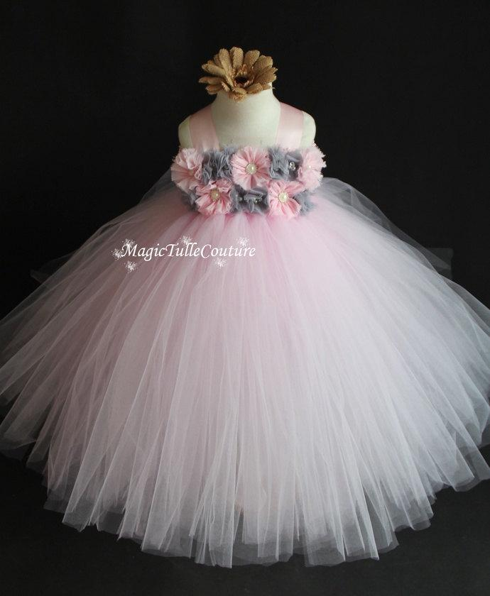 Lt Pink Pale Pink Blush Pink And Grey Flower Girl Tutu Dress