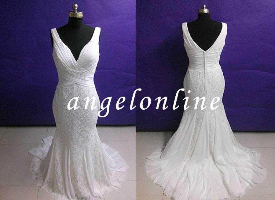 Simple Beach White Ivory Lace Chiffon Wedding Dress