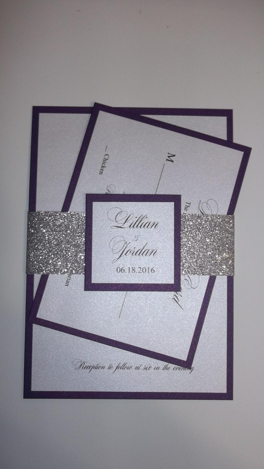 Glitter Wedding Invitation - Purple And Silver Glitter Invitation ...