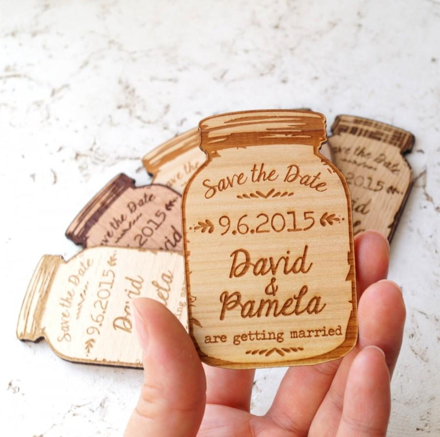 Wood Save The Date Magnets Mason Jar Wooden Engraved Rustic Dates