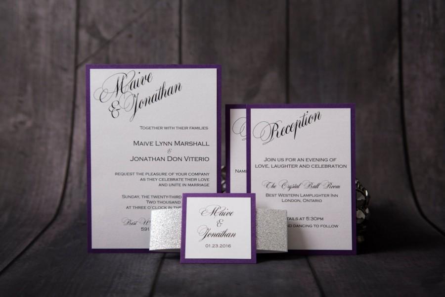 Glitter Wedding Invitation - Purple And Silver Glitter Invitation ...