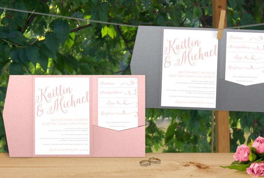printable pocket wedding invitation digital files editable text