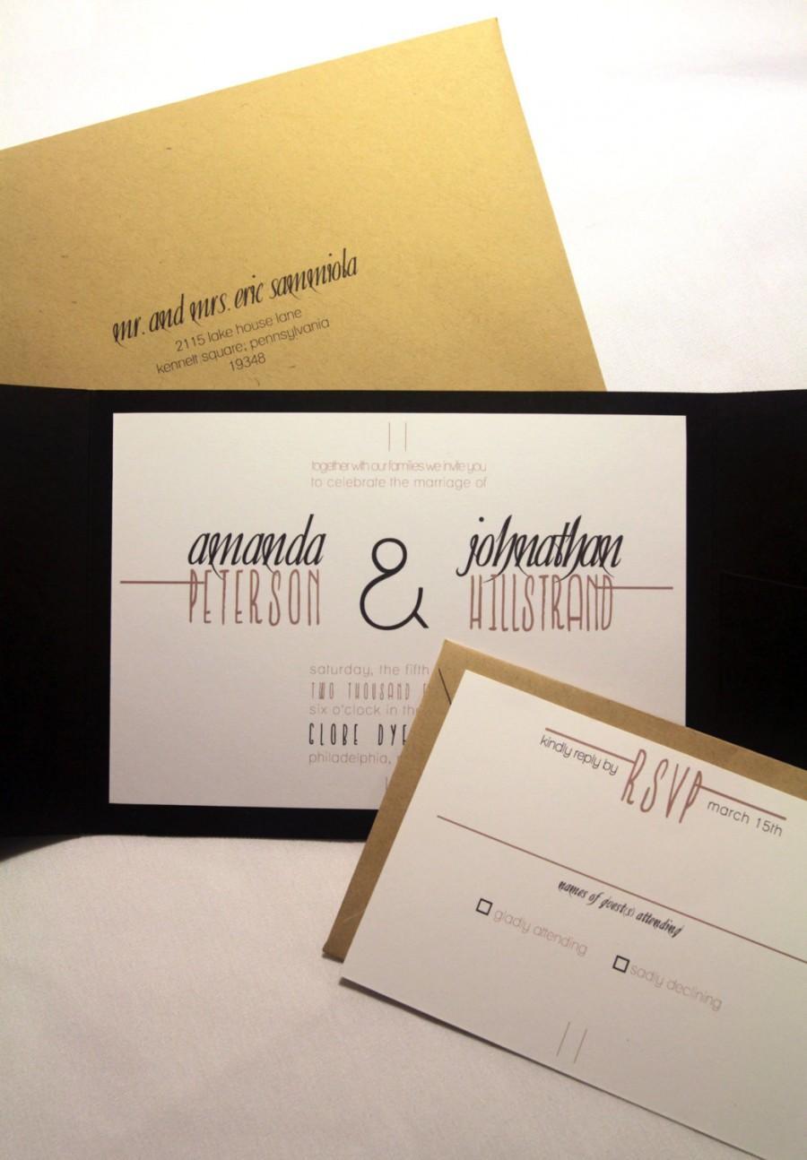 Modern Rustic Wedding Invitation Pocketfold Custom Invites Black – Modern Rustic Wedding Invitations