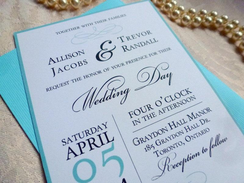 Printable Wedding Invitation And Rsvp Card The Elegance Suite Aqua