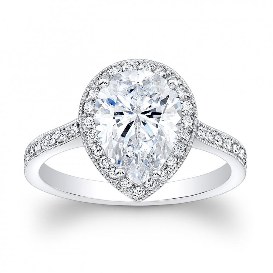 Women s Vintage Antique Platinum Engagement Ring With 2ct Pear Shape Whit