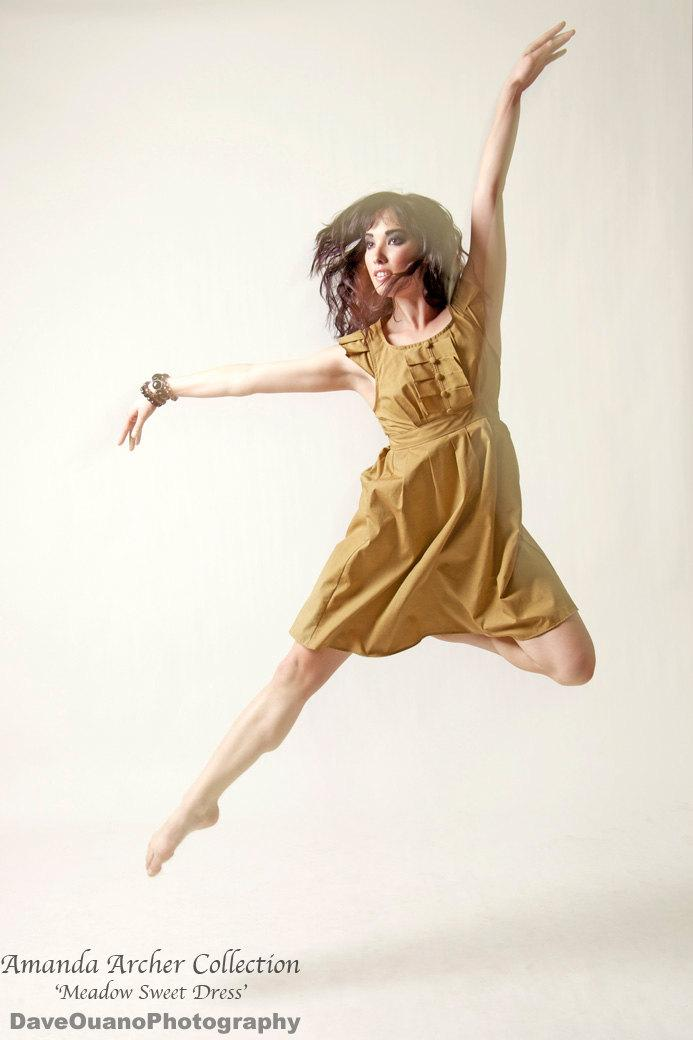 Mariage - Mustard Bridesmaid Dress, Made to Order, cotton dress with pockets
