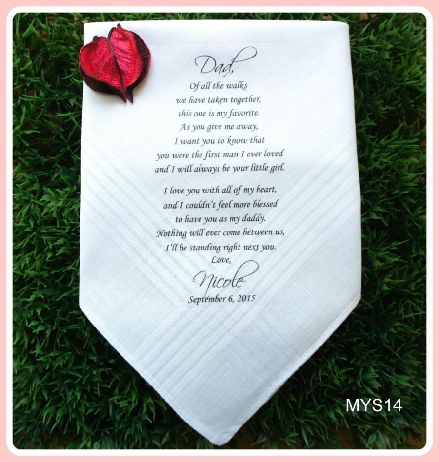 Свадьба - Father of the Bride/Groom-Wedding Handkerchief-PRINTED Hankies-CUSTOMIZED-Wedding Hankerchief-Father in Law-Father of the Bride Gift