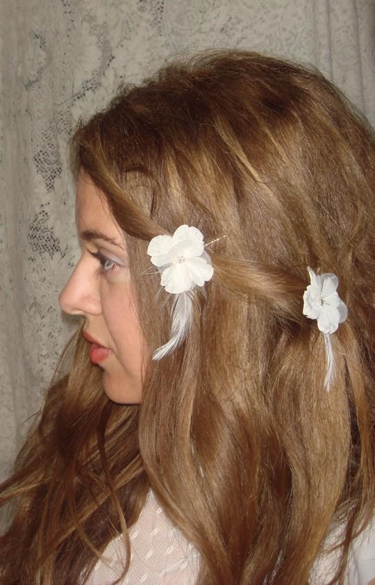 Mariage - White Flower, Accessories, Bridal, Accessories, Flower Girl, Hair, Rhinestone, Ivory flowers, Bobby Pins- CLOUD- set of three