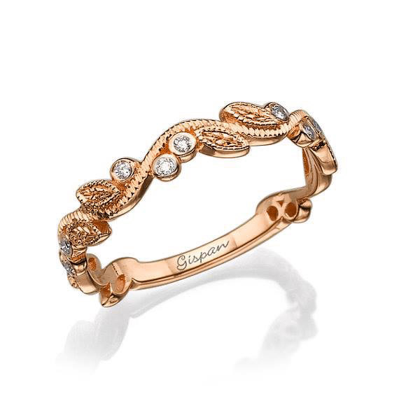 Mariage - Leaf Wedding Rins Rose Gold, Wedding Band, Woman Wedding Ring, Leaves Ring, Antique Ring, Vintage Ring, Art deco ring, Promise Ring, Gift