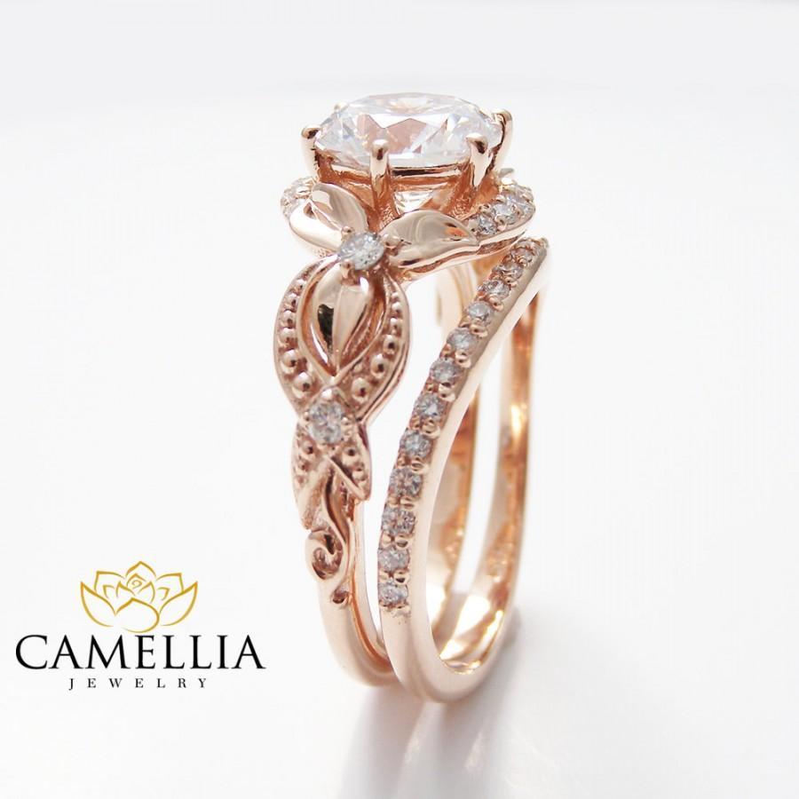 Unique Diamond Engagement Ring 14k Rose Gold Engagement Ring Vintage Floral  Diamond Bridal Ring