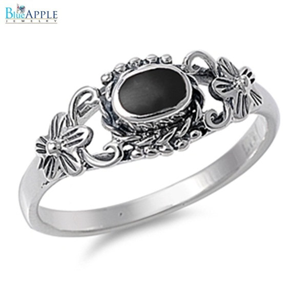 Mariage - Plumeria Flower Romantic Forever Love Oval Simulated Black Onyx in Plumeria Ring Solid 925 Sterling Silver Oval Onyx Ladies Promise Ring