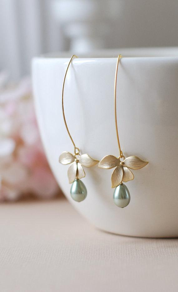Wedding - Gold Flower Olivine Sage Green Pearls Earrings. Sage Green Teardrop Teardrop Pearls Matte Gold Orchid Long Dangle Earrings, Sage Wedding