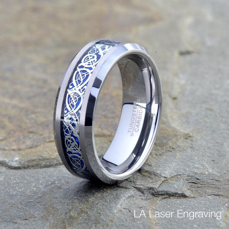 Mens Tungsten Carbide Wedding Band 8mm Mat Polished Blue Dragon Inlay Beveled Edge Custom Engraving Anniversary Ring Men