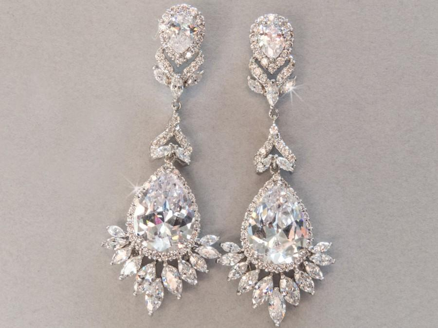 Statement Bridal Earring Rhinestone Crystal Cz Chandelier Drop Wedding Bella Bride Design Courtney