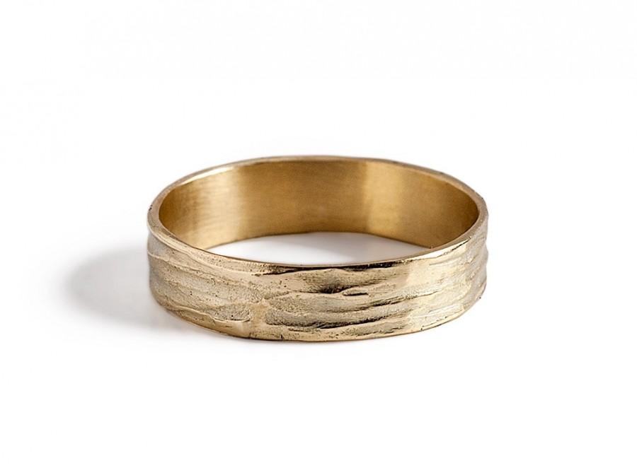 mens unique wedding band 14k gold wave wedding ring - Mens Unique Wedding Rings
