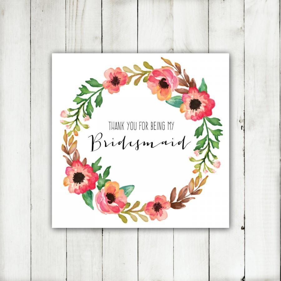 زفاف - Wedding Printable - 'Thank you for being my Bridesmaid' Autumn Floral Wreath Card