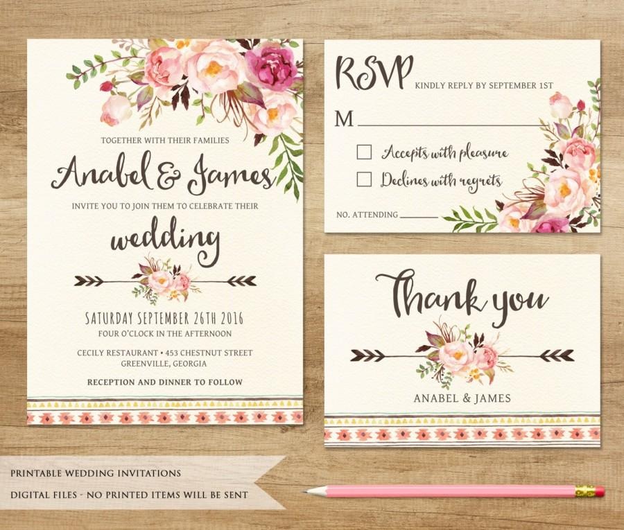 Wedding Invitation Printable Wedding Invitation Rustic Invitation