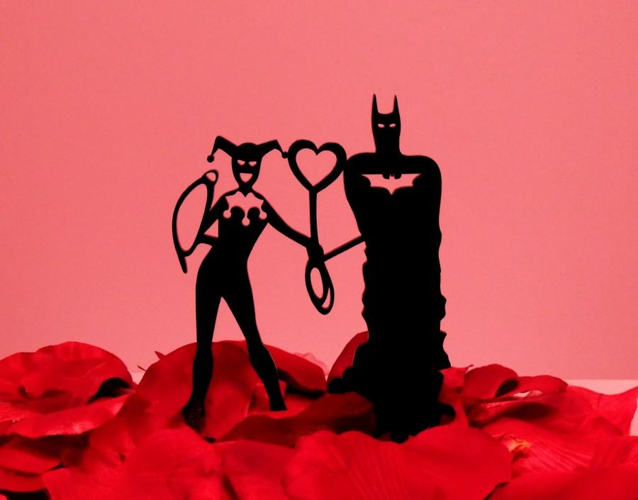 Wedding - Wrapped up in Love Batman and Harley Quinn Cake Topper