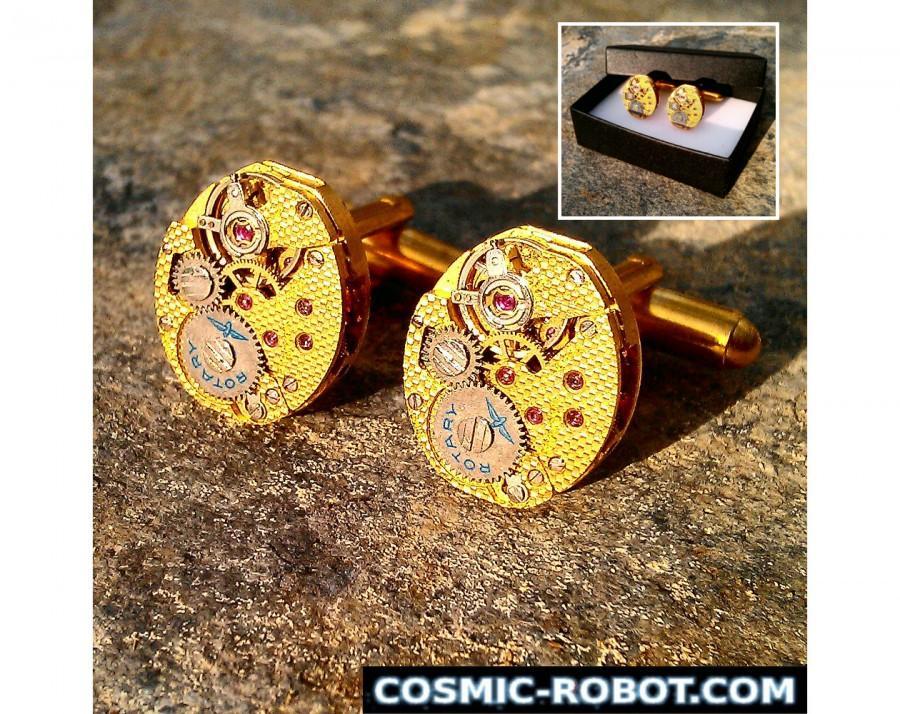 Steampunk Wedding Gifts: Handcrafted Brass Steampunk Cufflinks, Steampunk Jewellery