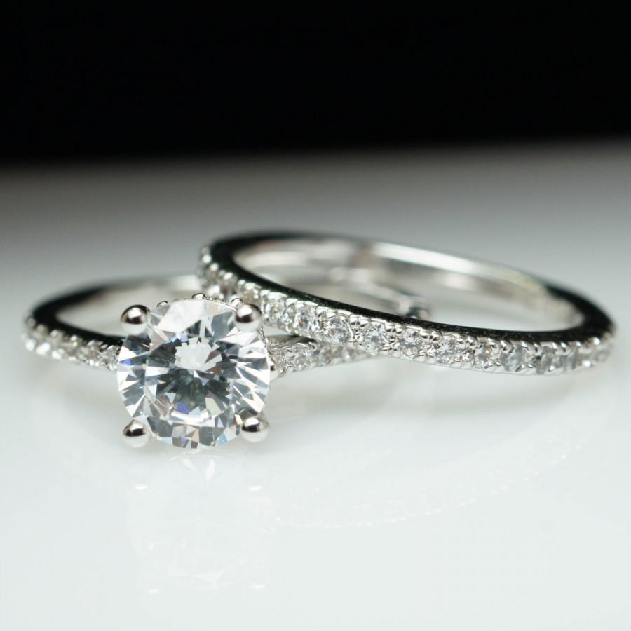 Solitaire Diamond Engagement Ring & Matching Wedding Band W Diamond Coll