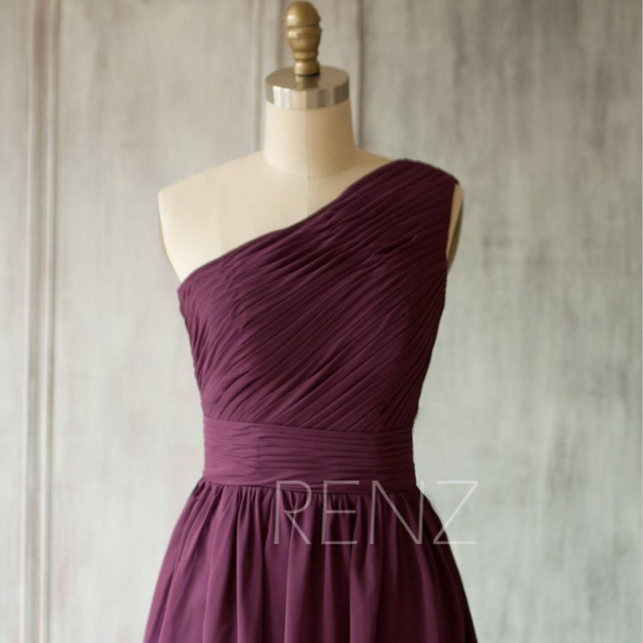 Mariage - 2015 Bright Plum Bridesmaid dres, Violet One Shoulder Evening dress, Romantic Wedding dress, Short Formal dress floor length (B083B)