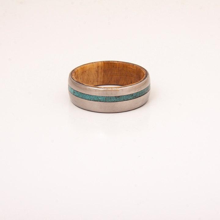 Mariage - titanium wood ring turquoise mens ring olive wood ring band