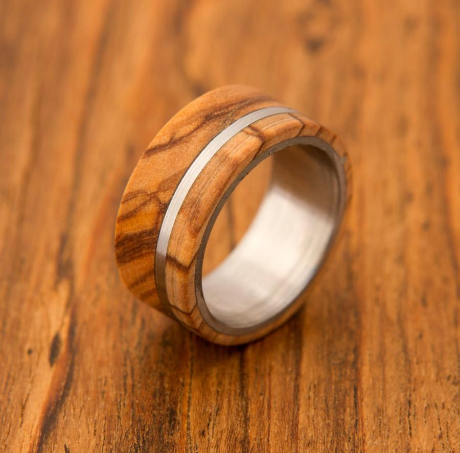 Mariage - olive wood ring titanium ring band mens ring