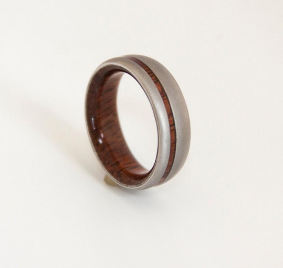 Titanium Hawaiian Koa Mens Wedding Band Wood Ring