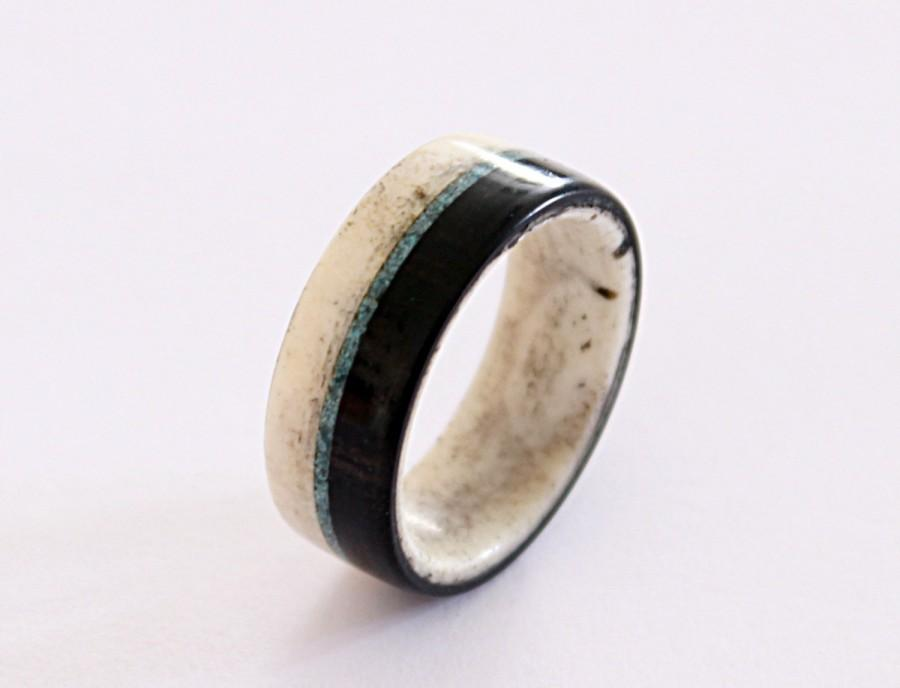 Свадьба - Antler men ring with ebony wood and turquoise inlays