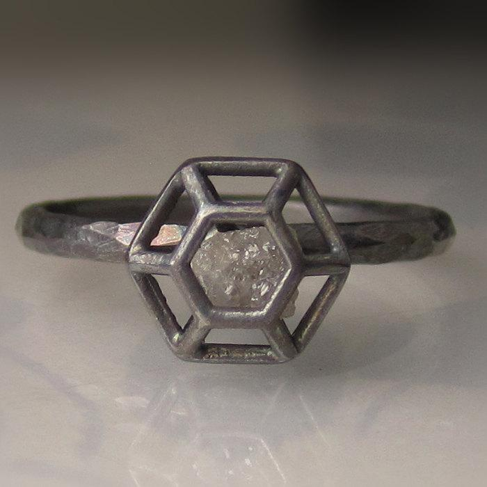 Mariage - Rough Diamond Engagement Ring - Caged Diamond in Recycled Sterling Silver