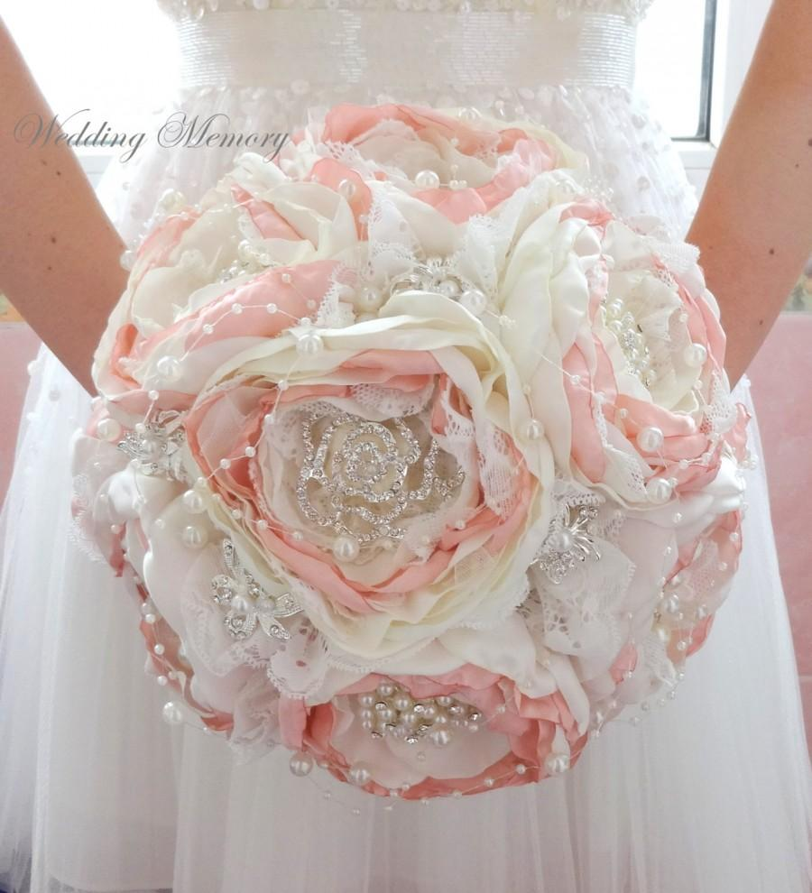 Свадьба - BROOCH BOUQUET blush pink fabric silk. 50% Deposit for Wedding jeweled bouquet pearl broach bouqet, off white wedding traditional bouquet