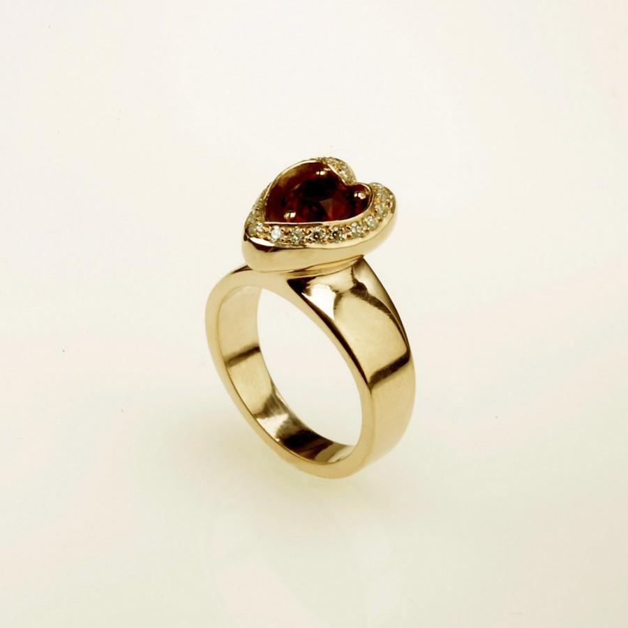 Mariage - Unique 14kt  gold engagement ring ,Studded Ruby and Diamond RG-1073