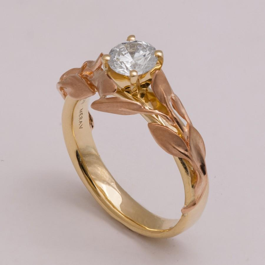 Mariage - Two Tone Leaves Engagement Ring - 14K Rose and Yellow Gold Diamond ring, unique engagement ring, leaf ring, Alternative Engagement Ring, 4B