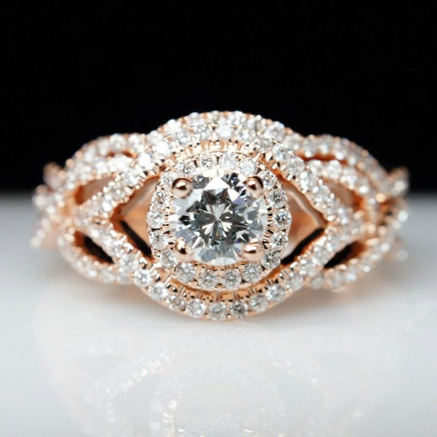 diamond halo 14k rose gold engagement ring wedding band set diamond