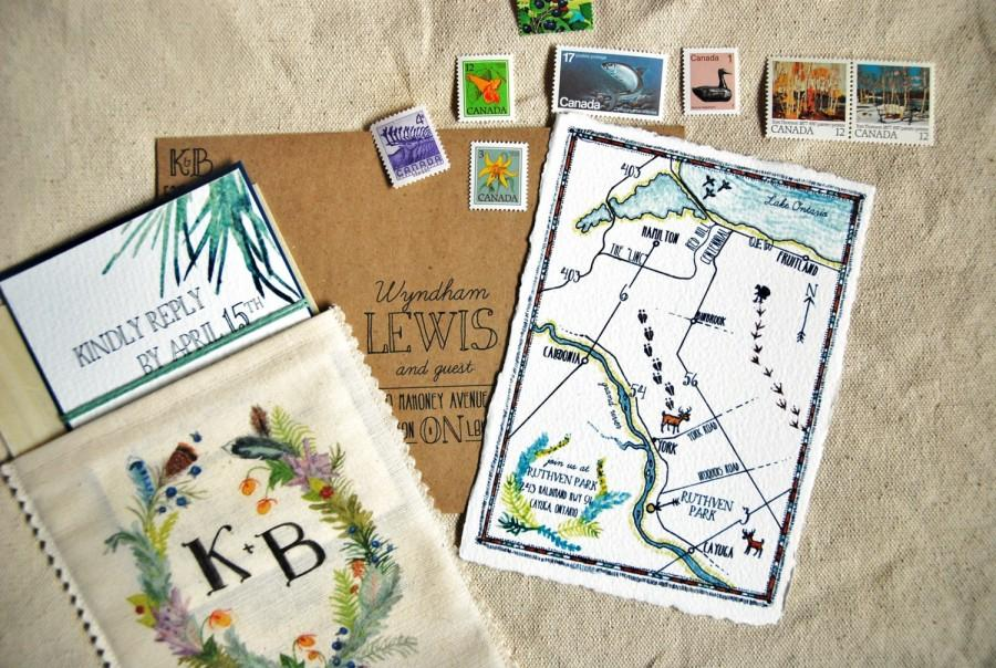 Mariage - Handmade Custom Wedding Map - Hand drawn watercolour, pen and ink, hand writing, special landmarks, creative detailing, illustration, art
