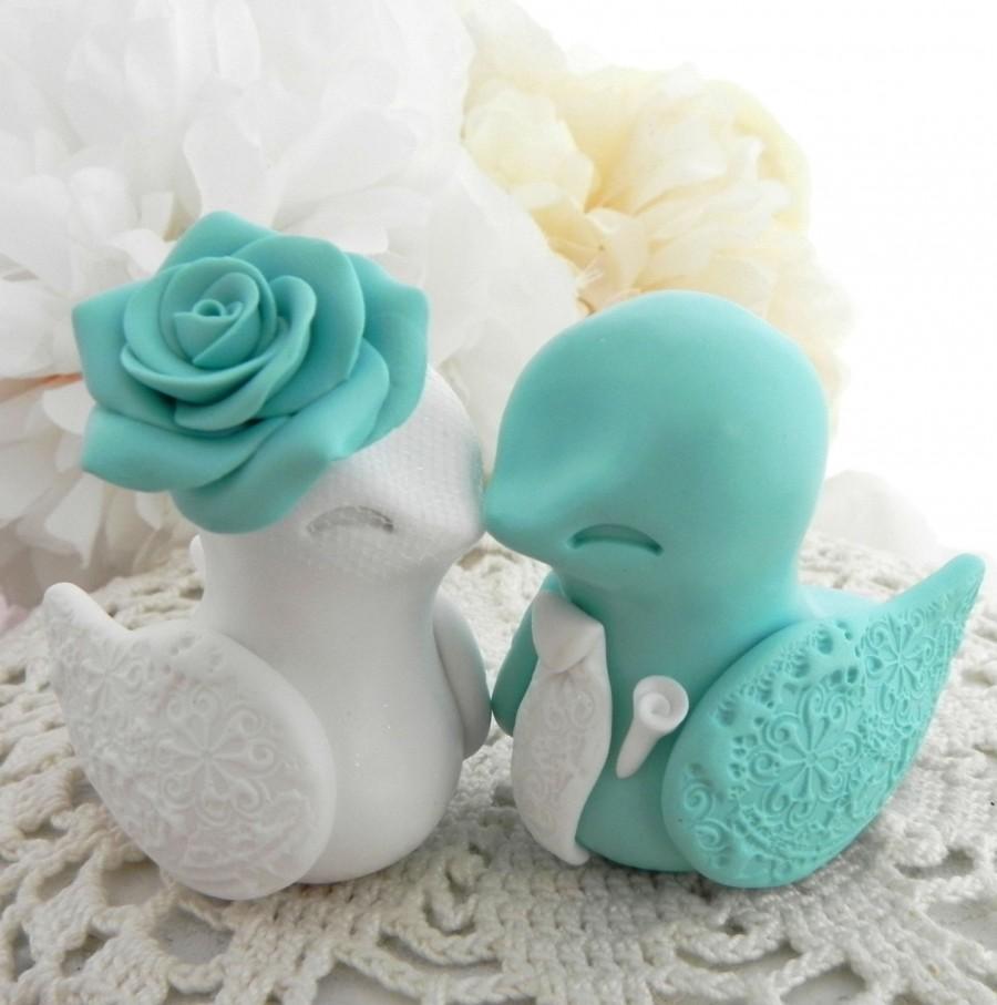 Mariage - Love Bird Wedding Cake Topper, Robins Egg Blue and White, Bride and Groom Keepsake