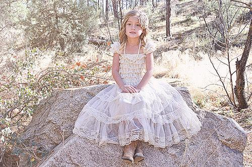 Lace Girls Dress Rustic Flower Girl Dresses Birthday Farm Shabby Chic Baby Pettidress Country