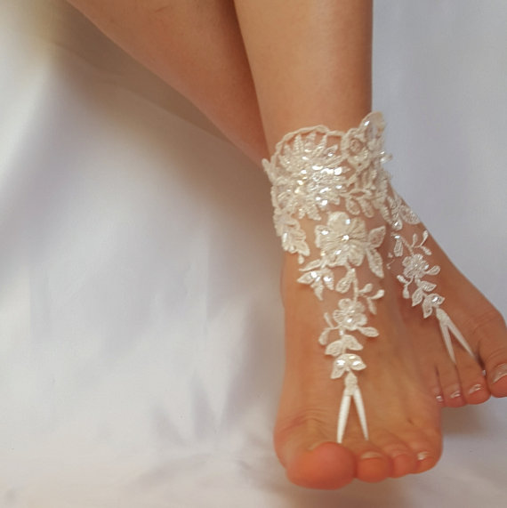 Wedding - ivory barefoot french lace sandals beach wedding embroidered anklet free ship bridesmaid amazing beaded scaly pearls weddingday