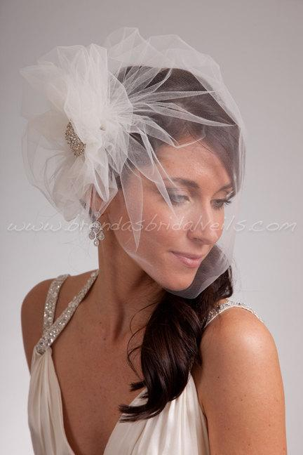 Hochzeit - Bridal Veil Set, Tulle Side Blusher Birdcage Veil and Tulle Bridal Pouf with Crystal Brooch
